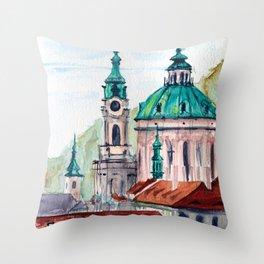 Prague Czech Republic watercolor Throw Pillow