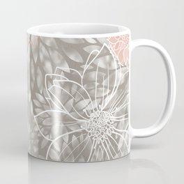 Floral Pattern Dahlias, Blush Pink, Gray, White Coffee Mug