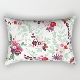 Abstract red pastel green pink country floral pattern Rectangular Pillow