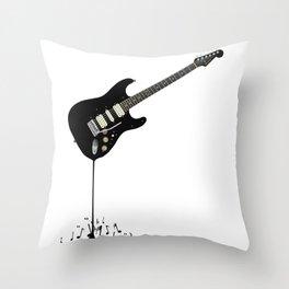 Fluid Black Guitar Throw Pillow