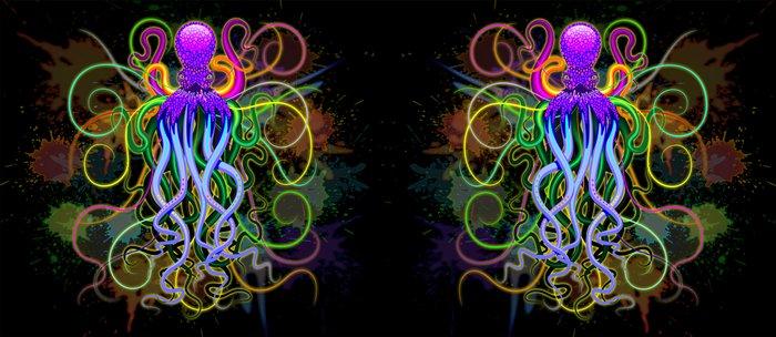 Octopus Psychedelic Luminescence Coffee Mug