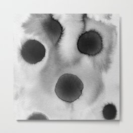 Black ink holes - in a watercolor based universe I Metal Print