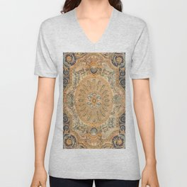 Louvre Fame Carpet // 16th Century Sunflower Yellow Blue Gold Colorful Ornate Accent Rug Pattern Unisex V-Neck