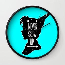 Peter Pan Quote - Never Grow Up Wall Clock