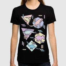 Nineties Dinosaurs Pattern  - Pastel version Womens Fitted Tee LARGE Black