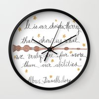 dumbledore Wall Clocks featuring Choices Dumbledore J.K. Rowling Quote by Hayley Lang