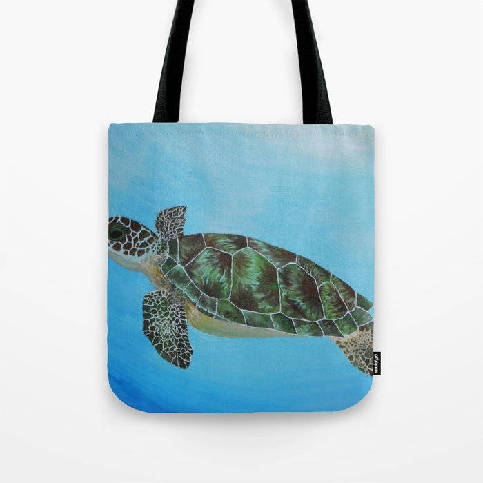 Green Sea Turtle Painting Ocean Paintings Sea Life Painting Original Acrylic Painting On Canvas Tote Bag By Mae2designs
