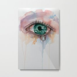 Beautiful watercolor illustration with crying green eyes. Metal Print