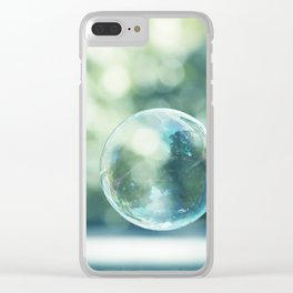 Bubble Photography, Bathroom Blue Green Art, Soap Bubbles Laundry Room Print, Bath Nursery Photo Clear iPhone Case