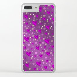 purple shiny stars and metal structure lilac sweet hearts Clear iPhone Case