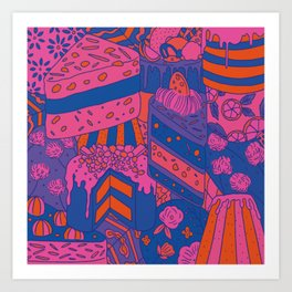 Pink Halloween Cakes Art Print