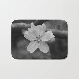 b&w apple blossom Bath Mat