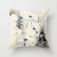 "battlefield Throw Pillows featuring ""Battlefield"" - You Do Not Exist by Becy Brooks"