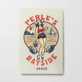 """""""Perle's Bayside Shack"""" Vintage Pinup Art Metal Print"""