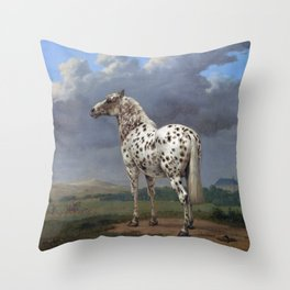 The horse blanc noir  Throw Pillow