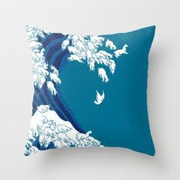 Waves Llama Throw Pillow
