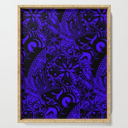 Hawaiian Midnight Blue Tribal Leaves Serving Tray