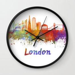 London V2 skyline in watercolor Wall Clock
