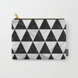 Marble Triangle Pattern - Black and White Carry-All Pouch