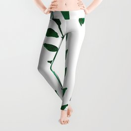 Minimalist Forest Green Leaves Watercolor Leggings