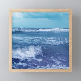 Blue Atlantic Ocean White Cap Waves Clouds in Sky Photograph Framed Mini Art Print