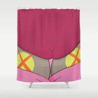 spongebob Shower Curtains featuring SPONGEBOB POP ART PRINT by FAUX NEW YORK