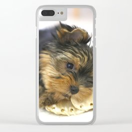 Puppy And the First Chewing Bone Yorkshireterrier #decor #society6 Clear iPhone Case
