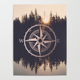 Rose Gold Compass Forest Poster