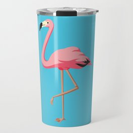 the Flamingo - vintage style illustration Travel Mug