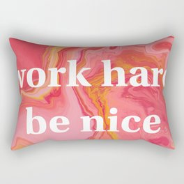 Work Hard Be Nice by Bethany Kelm Rectangular Pillow