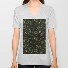Christmas tree branches and berries - sap green and coral Unisex V-Neck