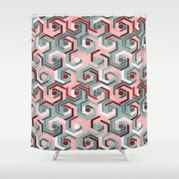 60s Shower Curtains featuring Back in the 60s peach by MehrFarbeimLeben