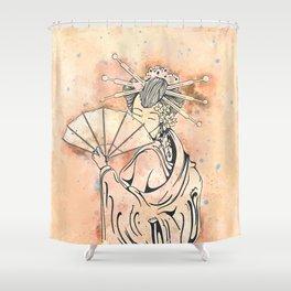 Vintage japanese geisha girl Shower Curtain