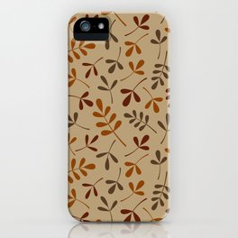 Fall Color Assorted Leaf Silhouette Pattern iPhone Case