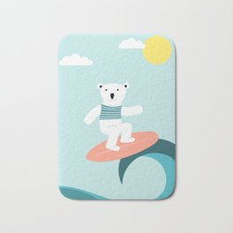 Polar bear surfing. Bath Mat