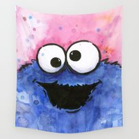 cookie Wall Tapestries featuring Cookie Monster by Olechka