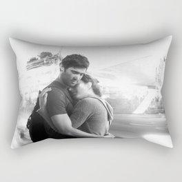 The Lovers | Timeless Night Scene Couple Embrace Romantic Hug Black and White Long Exposure Rectangular Pillow