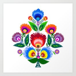 folk flowers ornament  Art Print