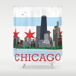 Chicago Gold Coast Skyline Illustration Chicago Flag Shower Curtain