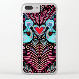 Peacock Valentines Clear iPhone Case