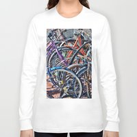 bicycles Long Sleeve T-shirts featuring Lots of colorfull bicycles by Claude Gariepy
