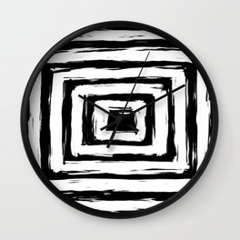 Minimal Black and White Square Rectangle Pattern Wall Clock