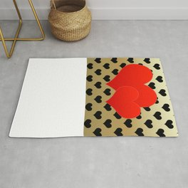 Two red hearts in tandem on black hearts pattern Rug