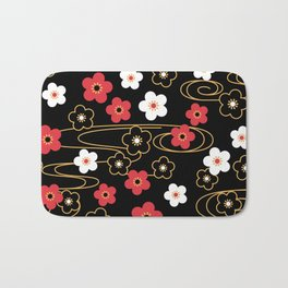 Black Sakura Kimono Pattern Bath Mat