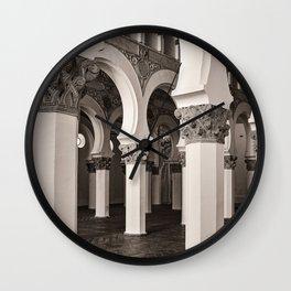 The Historic Arches in the Synagogue of Santa María la Blanca 5, Toledo Spain Wall Clock