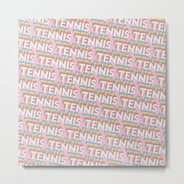 Tennis Trendy Rainbow Text Pattern (Pink) Metal Print