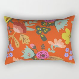 Funky Red Floral Rectangular Pillow