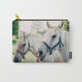 White Horses Carry-All Pouch