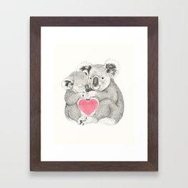 Koalas love hugs Framed Art Print