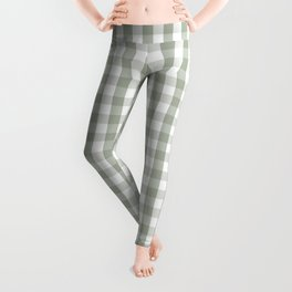 Desert Sage Grey Green and White Gingham Check Leggings